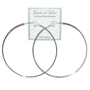 """Brand new 3.75"""" silver hoop earrings from Macy's"""